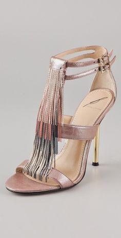 B Brian Atwood Lenoire Metallic Fringe Sandals