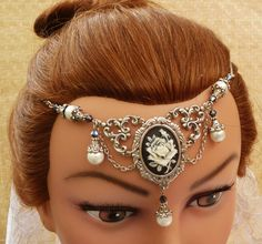 Romantic cameo hair jewellery with shell core pearl, headband, bridal hair accessoires, cameo, LARP, medieval hair jewellery, silver, black on Etsy, $54.69
