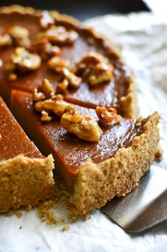 Pumpkin Caramel Tart with Candied Walnuts