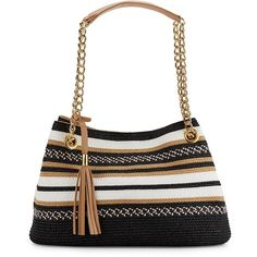 Saks Fifth Avenue Striped Straw Satchel ($15) ❤ liked on Polyvore featuring bags, handbags, black, purse satchel, stripe handbag, striped handbags, satchel bags and stripe purse