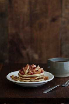 Wheat-Almond Pancakes with Apple/Pomegranate Topping