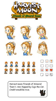 Game Boy Advance - Harvest Moon: Friends of Mineral Town - Ann Character Sheet, Game Character, Character Design, Harvest Moon Fomt, Harvest Games, Video Game Sprites, Pixel Characters, Rune Factory, Pixel Art