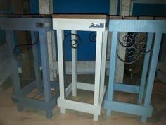 Bar stools with decorative iron scrolls