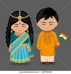 Indians in national dress with a flag. A man and a woman in traditional costume. Travel to India. People. Welcome to India. Vector flat illustration.