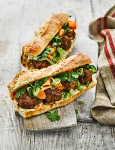 We've packed these crunchy Vietnamese sandwiches with juicy pork meatballs, thinly sliced pickled veg and fresh herbs. This recipe has been tripled tested Meatball Recipes, Pork Recipes, Veggie Recipes, Asian Recipes, Olive Recipes, Yummy Recipes, Cooking Recipes, Best Meatballs, Pork Meatballs