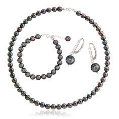 Komplet srebrny z perłami multicolor - La Perla - Komplety | VELUCCI - autorska, artystyczna biżuteria