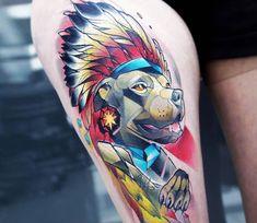 ChiefRaka Indian Pitbull tattoo by Carlos Breakone