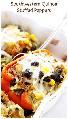 Stuffed with a delicious and cheesy quinoa mixture, these peppers are so flavorful and very filling! Healthy, too!!