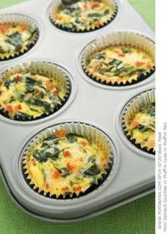 Egg and Spinach Quiche Cups •  10  ounces  frozen chopped spinach •  3/4 cup egg whites •  3/4 cup  shredded fat free cheese •  1/4 cup red bell pepper, chopped •  1/4 cup  onion, chopped fine •   hot...