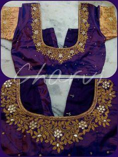 Super super flowers Pattu Saree Blouse Designs, Bridal Blouse Designs, Maggam Work Designs, Work Blouse, Neck Pattern, Blouse Patterns, Maggam Works, Clothes For Women, Sarees