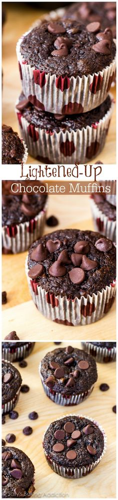 Skinny Chocolate Banana Fudge Muffins - Miracle muffins. No butter, no oil, whole wheat, with tons of rich fudgy flavor. You won't miss all the calories and fat!