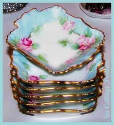 My favorite colors with soft pink roses. Love the shape and gold edge trim. Antique Dishes, Vintage Dishes, Antique China, Vintage China, Fancy Dishes, Antique Glass, Vintage Plates, Vintage Teacups, Vintage Dinnerware