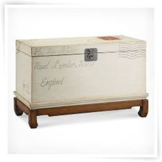 Postage Stamp Motif Storage Trunk