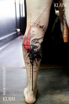 Graphic Tattoo Design On Leg #ink