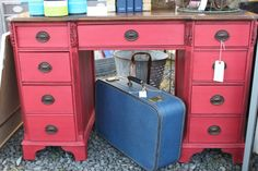 Painted in CeCe Caldwell's Traverse City Cherry with Vermont Slate/Virginia Chestnut Glaze by Martha Marie Vintage