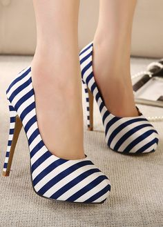 navy stripes heels - so sexy ♥ I bet you would love to wear these - Enjoy with love from http://www.shop.embiotechsolutions.co.uk/AquaFresh-EM-Ceramics-Water-Butt-Treatment-250g-AquaFresh250.htm