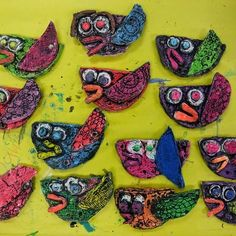 Clay slab birds - make bird; dry completely; colour with oil pastels/crayons; paint with water colour or dip in watered down black ink