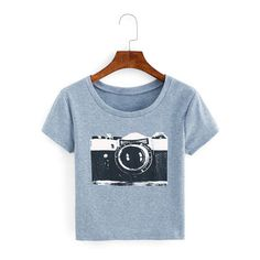 Camera Print Ribbed T-shirt ($19) ❤ liked on Polyvore featuring tops, t-shirts, blue t shirt, ribbed top, rib tee, ribbed tee and ribbed t shirt