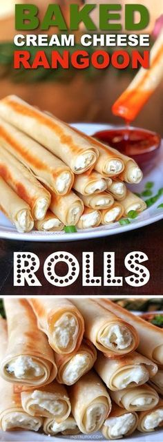 Baked Cream Cheese Rangoon Rolls -- an easy appetizer or snack idea! The most delicious finger food, EVER. Kids and adults love them. Instrupix.com Think Food, I Love Food, Snack Recipes, Cooking Recipes, Kitchen Recipes, Cooking Tips, Easy Food Recipes, Cooking Bacon, Dishes Recipes