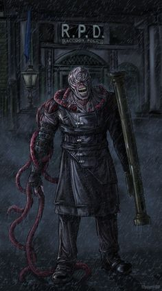 """The last rain in Raccoon City"" Resident Evil Nemesis by Artwork done by another. l lone how the creatures almost have the appearance of their veins releasing themselves from the skin. Resident Evil 4 Ashley, Resident Evil 3 Remake, Resident Evil Nemesis, Resident Evil Game, Video Game Art, Video Games, Resident Evil Collection, Leon S Kennedy, Umbrella Corporation"