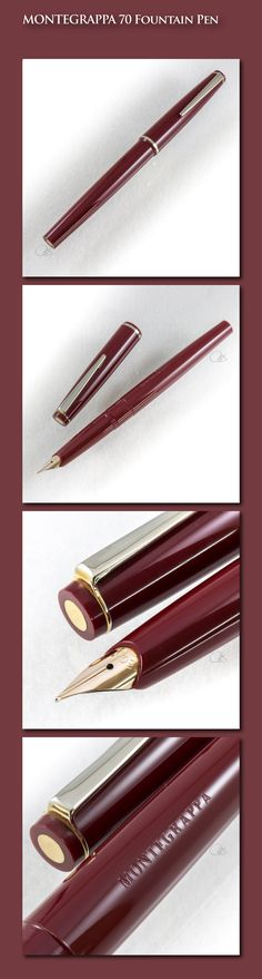 MONTEGRAPPA 70 Bordeaux Fountain Pen (acrylic body, gold-plated trim, 14-carat gold nib) - 1970s / Italy
