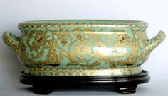 Celadon Green and Gold Arabesque - Luxury Hand Painted Chinese Reproduction Porcelain - 16 Inch Foot Bath / Planter / Centerpiece Style 591
