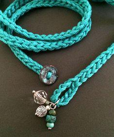 Holiday Sale Crochet wrap bracelet / necklace teal by CoffyCrochet