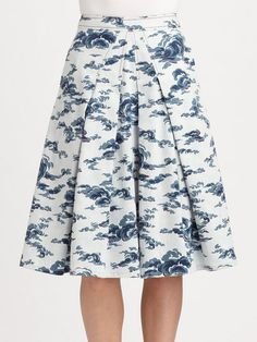 Carolina Herrera Pleated Cloudprint Stretch Cotton Skirt