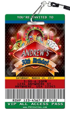 Casino Birthday Invitations