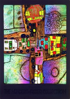 Hundertwasser - I have several prints of his work around the house - my favourite; Yellow Tower doesn't seem to be on Pinterest