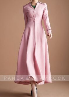 pink lady/women clothing/long coat/high collar/belt/fit/custom made/wool/autumn/winter. $180.00, via Etsy.