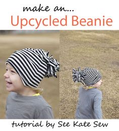 Supplies: old tshirt, sweater or 1/3 yard knit fabric free slouchy beanie pattern piece the usual sewing supplies Skill level: Beginner See the full Upcycled Beanie Tutorial here!  Are hats a must have for your children in cold weather? Enjoy the tutorial? We encourage you to pin from the original source.