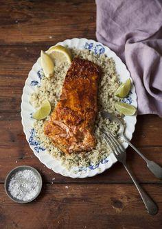intensefoodcravings:  Grilled Salmon with Harissa on Cauliflower...