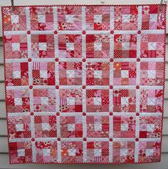 Nine Patch, in Valentine colors...  (Red pepper quilts). Love.