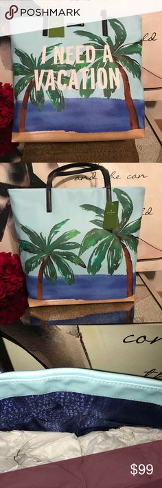 kate spade Summer Vacation Bon Shopper Tote 💯% AUTHENTIC - Bon shopper shoulder bag  -  Coated canvas with smooth cowhide trim - Front gold printed signature on leather license plate - Open top. Custom lining with interior zip and double slide pockets. kate spade Bags