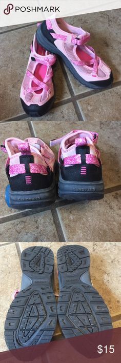 Girls Casual Shoe Lands' End sporty shoes with cel row strap and netting.  Made for comfort of a sneaker but more open.  Rubber soles for nonslip and good support.  Like new.  Non-smoking home Lands' End Shoes