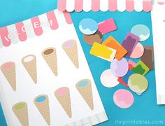 Match the ice cream to the correct cone! The Ice Cream Matching Game is a fun paper craft for kids.