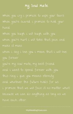 Trendy wedding vows i promise future husband 69 Ideas Wedding Vows That Make You Cry, Best Wedding Vows, Wedding Vows To Husband, Wedding Poems, Wedding Readings, Personal Wedding Vows, Wedding Ceremony, 2017 Wedding, Wedding Trends