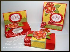 Get Well Tissue Box by lisa foster - Mixed Bunch, Perfectly Penned, Labels Collection Framelits, Poppy Parade, Pear Pizzazz, Daffodil Delight