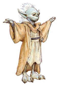 concept sketch of Yoda that later became Yaddle.