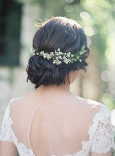 Pretty floral accented updo: http://www.stylemepretty.com/2016/03/30/a-wedding-inspired-by-the-couples-trip-to-tuscany/ | Photography: Jen Huang - http://jenhuangphoto.com/