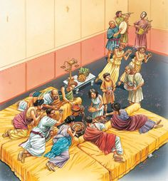 DINERS  ENTERTAINED by MUSICIANS and DANCERS. For rich Romans, dinner was a lavish three-course meal with a variety of meats and fish, accompanied by fine wine. It was eaten in the dining room (triclinium). Guests lay on cushioned couches and ate with their fingers, while slaves filled the table with a wide selection of exotic food. On the menu might be such luxuries as pigs' udders, snails, dormice and flamingos' tongues. In contrast, for poor Romans, dinner might be hot porridge…
