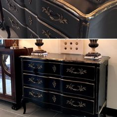 New in.  Beautiful  black commode with gilt detail.  Wonderful entry or accent piece.  #classicdecor #shelterchictulsa