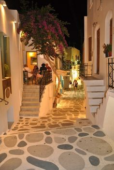 Beautiful Parikia in Paros island, Greece - owch. if memory serves me correctly, I took a bit of a spill down these beautiful streets. The Places Youll Go, Places To Go, Hotel Am Strand, Greece Holiday, Travel Aesthetic, Greece Travel, Greek Islands, Dream Vacations, Family Vacations