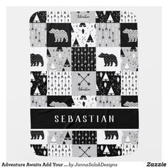 Adventure Awaits Add Your Name Grey Black White Baby Blanket Tribal Arrows, Black And White Baby, Soft Baby Blankets, Consumer Products, Adventure Awaits, Baby Design, Cool Patterns, Artwork Design, Personalized Baby