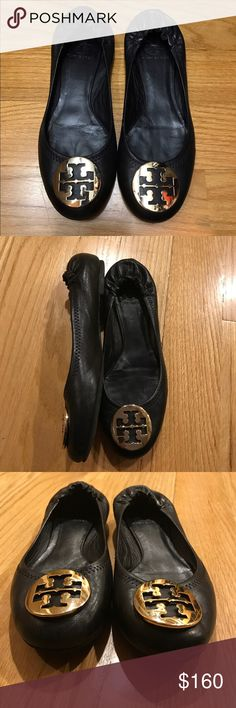 TORY BURCH \'Minnie\' Travel Ballet Flat Black/ Gold, great condition. Tory Burch Shoes Flats & Loafers