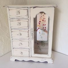 shabby chic large armoire jewelry box vintage by MySugarBlossom
