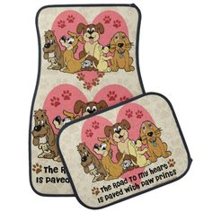 The Road To My Heart Dog Paw Prints Car Floor Mat - Who wants the boring floor mats from the dealership? Be the rebel.
