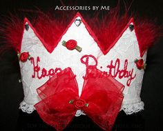 Birthday Crown Girls Red Marabou Feathers Lace by accessoriesbyme, $38.99