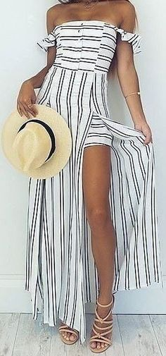 #summer #stripes #style  |  Striped Maxi Playsuit